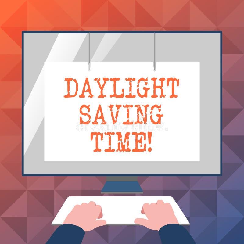 Texttecken som visar dagsljus som sparar Tid Flyttande fram klockor för begreppsmässigt foto under sommar som sparar elektricitet stock illustrationer