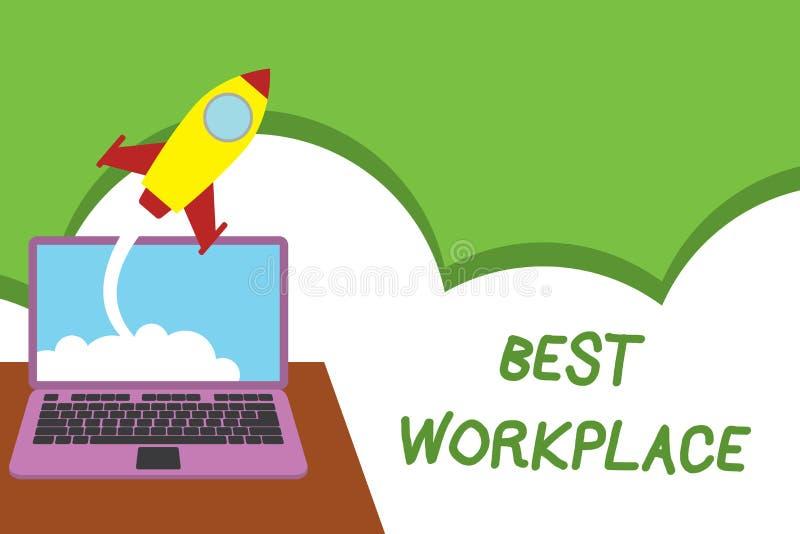Texttecken som visar den bästa arbetsplatsen Belastar det ideala företaget för det begreppsmässiga fotoet som arbetar med hög kom vektor illustrationer