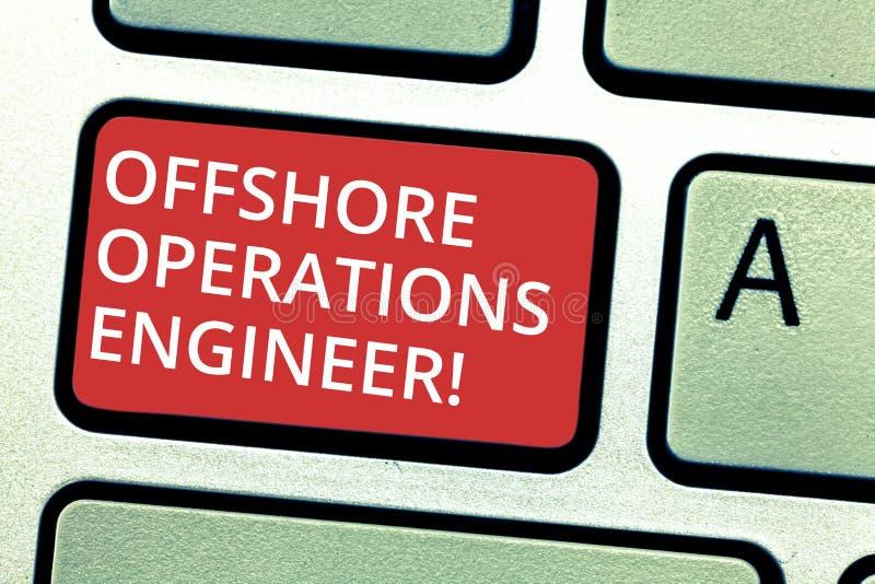 Texttecken som visar den frånlands- operationteknikern Begreppsmässigt foto som övervakar fossila bränslenoperationer i riggtange arkivbild