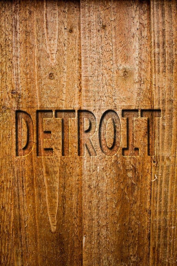 Texttecken som visar Detroit Begreppsmässig fotostad i Amerikas förenta staterhuvudstaden av träMichigan Motown idémeddelanden arkivbild