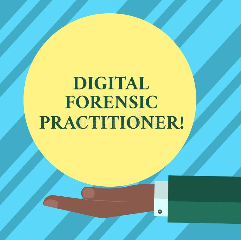 Texttecken som visar Digital den rättsmedicinska praktiker Begreppsmässig fotospecialist, i att utforska för Hu för datorbrott ha stock illustrationer