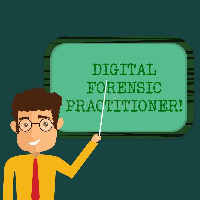 Texttecken som visar Digital den rättsmedicinska praktiker Begreppsmässig fotospecialist, i att utforska mannen för datorbrott stock illustrationer