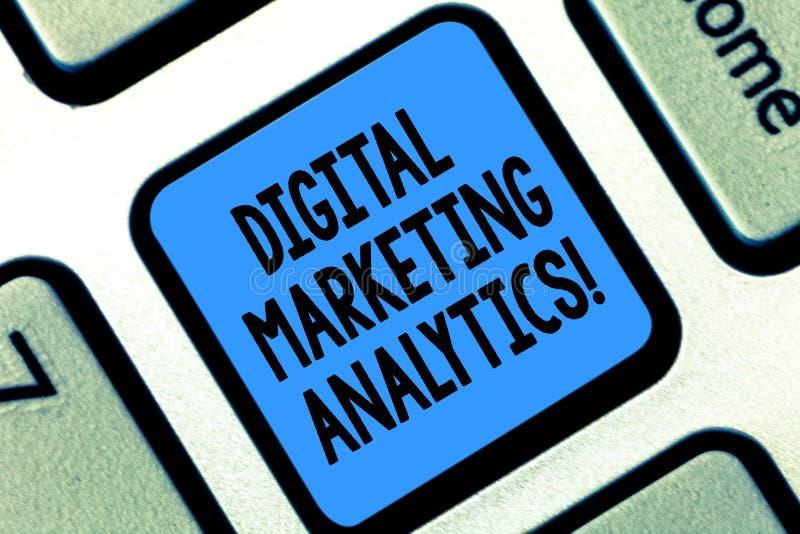 Texttecken som visar Digital som marknadsför Analytics Begreppsmässig metrik för affär för fotomått som trafik och blytaktangentb arkivfoton