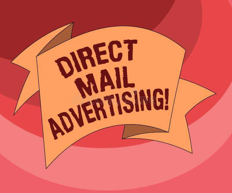 Texttecken som visar direkt post som annonserar Det begreppsmässiga fotoet levererar marknadsföringsmaterial till den vikta klien stock illustrationer