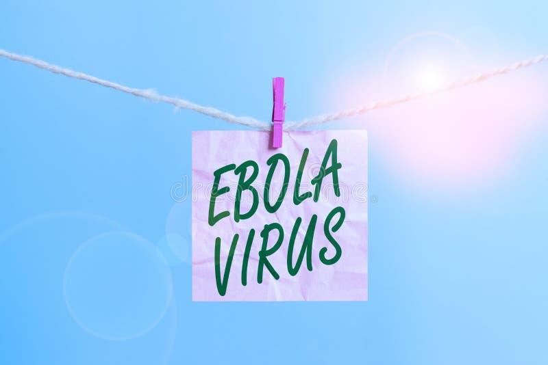 Texttecken som visar Ebola Virus Konceptuellt foto en viral hemorragisk feber av huanalysier och andra primater Klothepin arkivfoto