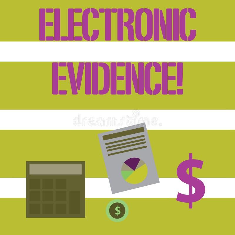 Texttecken som visar elektroniskt tecken Lagrade överför probative information om begreppsmässigt foto eller i digital form stock illustrationer