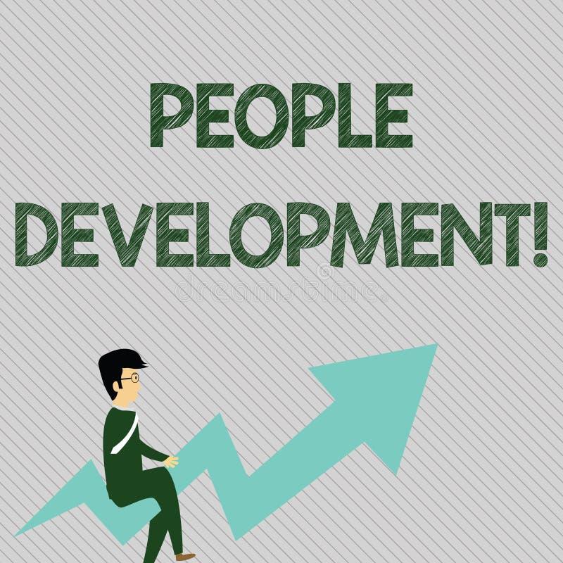 Texttecken som visar folkutveckling Uppmuntrande anställda för begreppsmässigt foto som får ny eller avancerad expertis royaltyfri illustrationer
