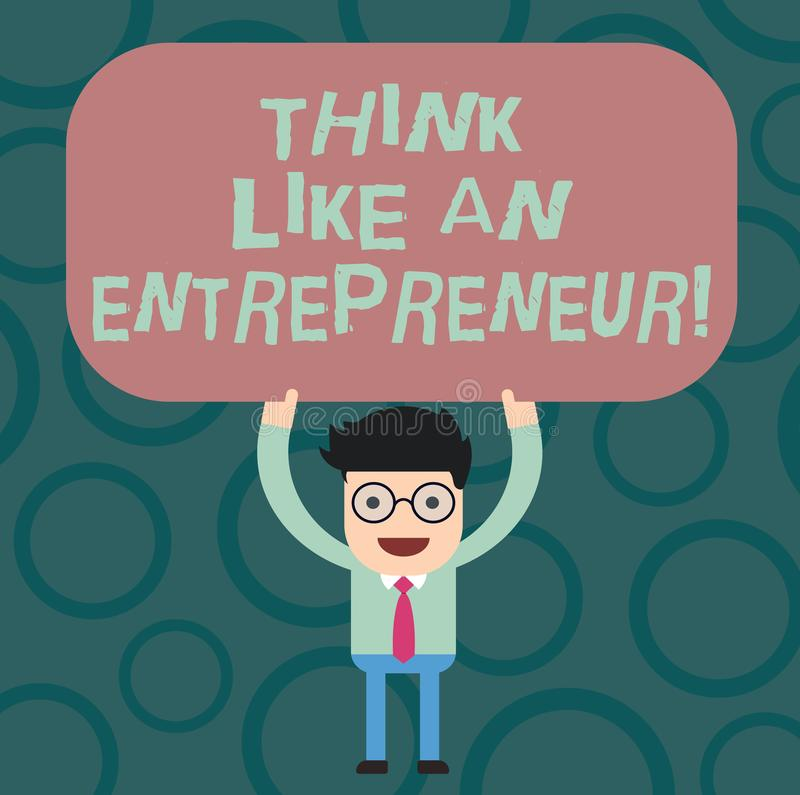 Texttecken som visar funderare som en entreprenör Det begreppsmässiga fotoet har en egenföretagandemening startar upp strategiman stock illustrationer