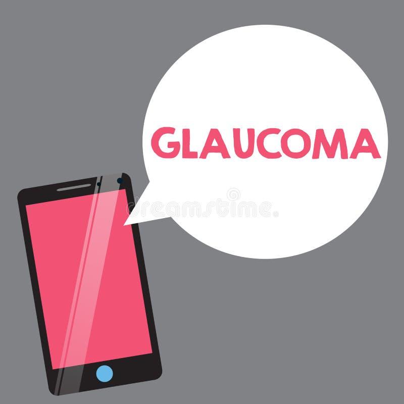 Texttecken som visar glaukom Begreppsmässiga fotoögonsjukdomar som resulterar i skada till visionförlusten för den optiska nerven stock illustrationer