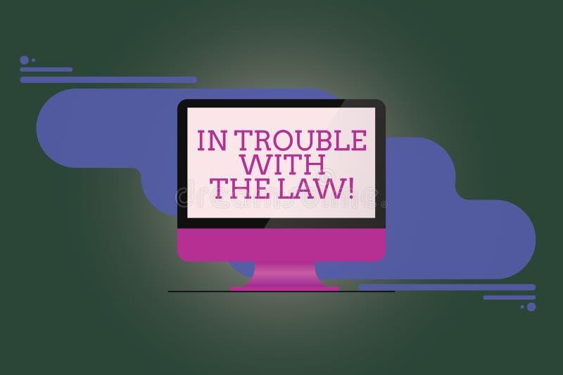 Texttecken som visar i problem med lagen För problembrott för begreppsmässigt foto monterade lagliga frågor för rättvisa för brot stock illustrationer