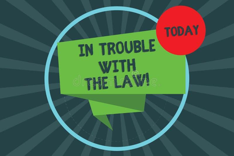Texttecken som visar i problem med lagen För problembrott för begreppsmässigt foto vek lagliga frågor för rättvisa för brottsliga stock illustrationer