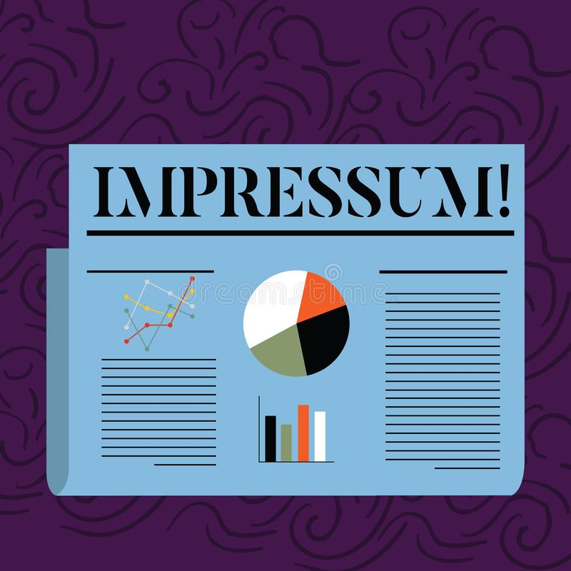 Texttecken som visar Impressum För avtryckGeranalysis för begreppsmässigt foto imponerat inristat författarskap för äganderätt me royaltyfri illustrationer