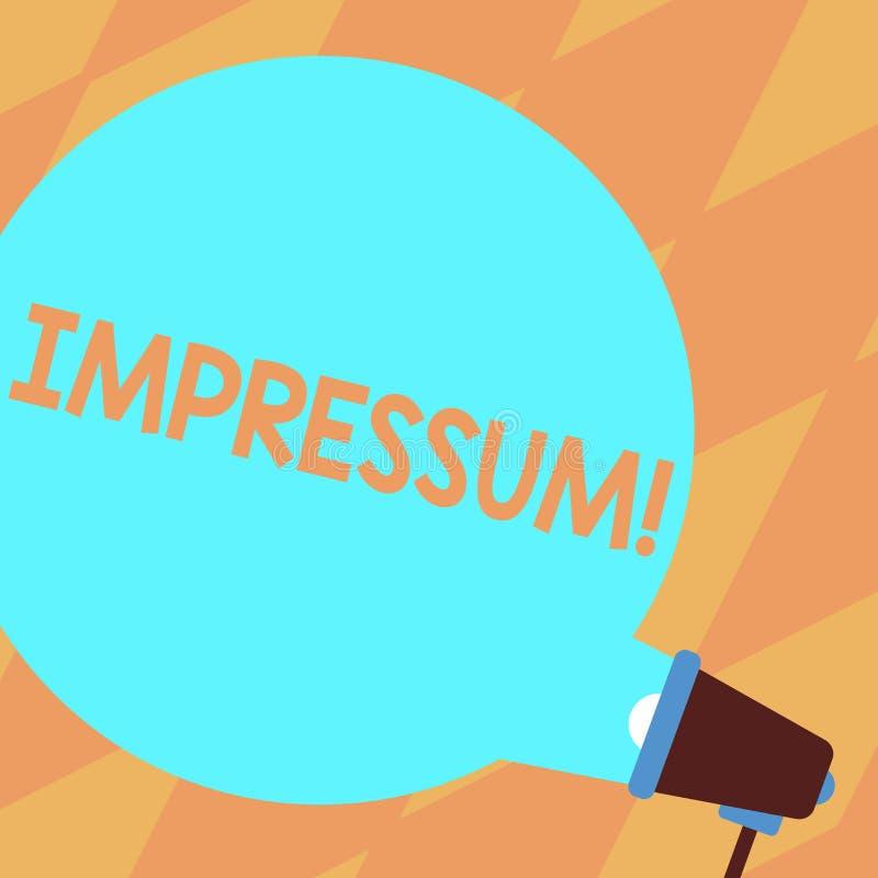 Texttecken som visar Impressum F?r avtryckGeranalysis f?r begreppsm?ssigt foto imponerat inristat f?rfattarskap f?r ?gander?tt me royaltyfri illustrationer