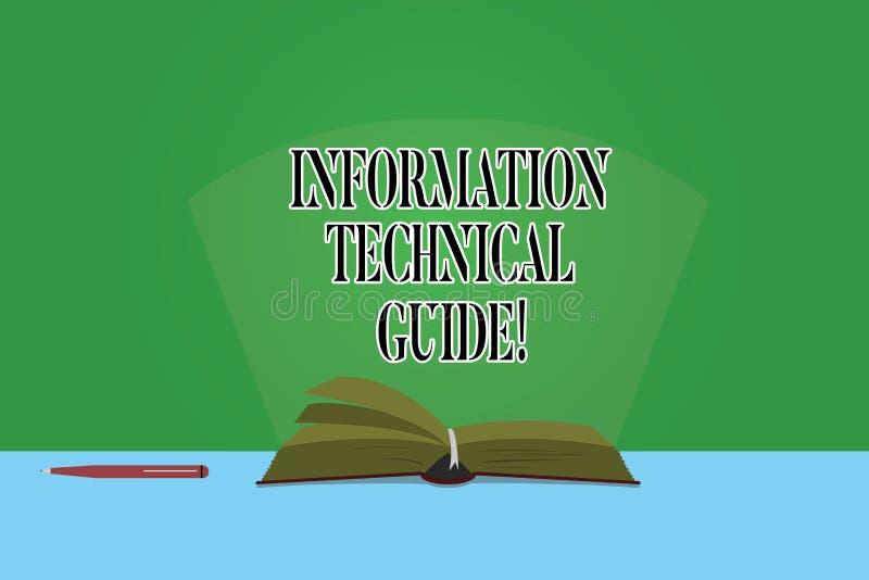 Texttecken som visar information den tekniska handboken Begreppsmässigt fotodokument som innehåller anvisningar av operationfärg royaltyfri illustrationer