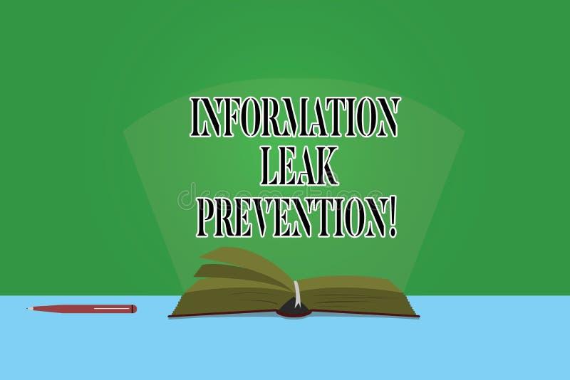 Texttecken som visar informationsläckaförhindrande Begreppsmässigt foto som förhindrar kritisk information till utflödefärgsidor royaltyfri illustrationer