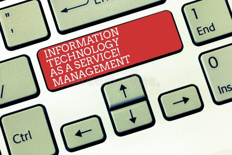 Texttecken som visar informationsteknikledning som en service Begreppsmässigt foto DET tangentbordtangent för stöttande hjälp arkivfoton