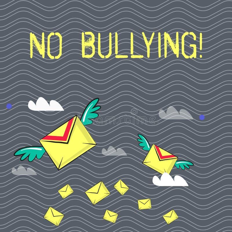 Texttecken som visar ingen pennalism Begreppsmässigt foto som förbjudas anfall för missbrukmobbningagression arkivfoto