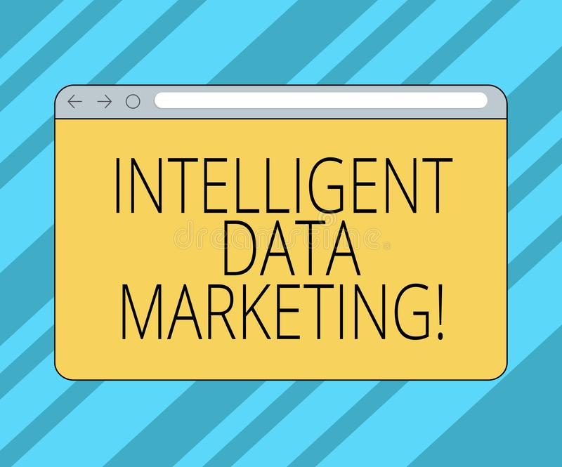Texttecken som visar intelligent datamarknadsföring Begreppsmässig information om fotoet som är relevant till ett målkonto s, är  royaltyfri illustrationer