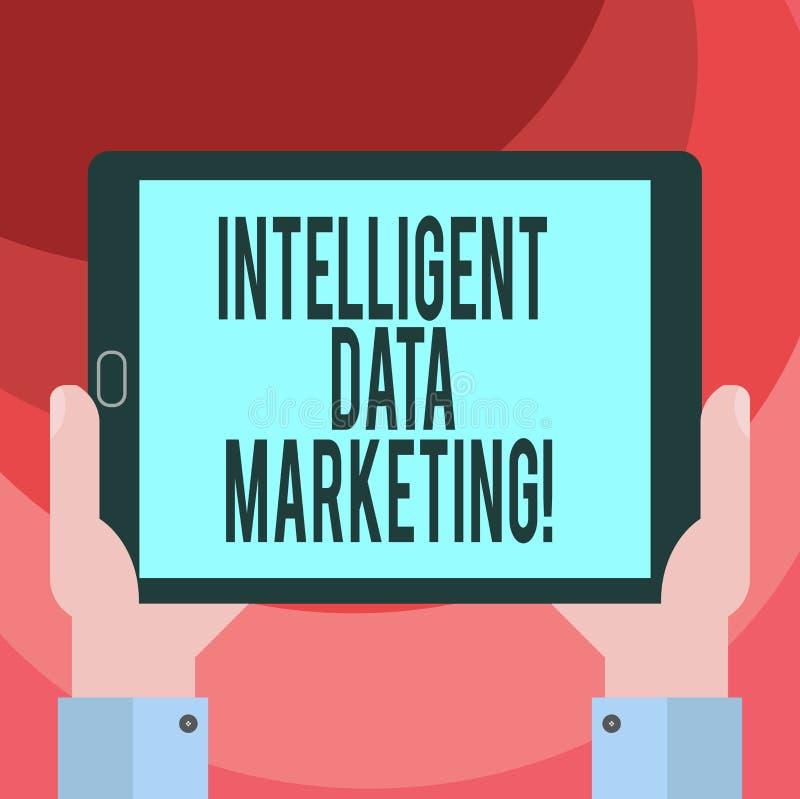 Texttecken som visar intelligent datamarknadsföring Begreppsmässig information om fotoet som är relevant till ett målkonto s, är  vektor illustrationer