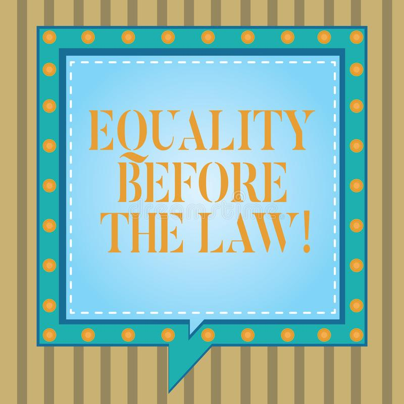 Texttecken som visar jämställdhet för lagen Jämbördiga rätter för begreppsmässigt skydd för fotorättvisajämvikt för alla fyrkant vektor illustrationer