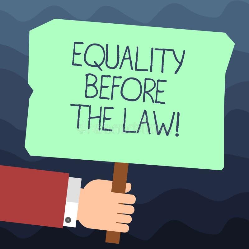 Texttecken som visar jämställdhet för lagen Jämbördiga rätter för begreppsmässigt skydd för fotorättvisajämvikt för alla Hu royaltyfri illustrationer