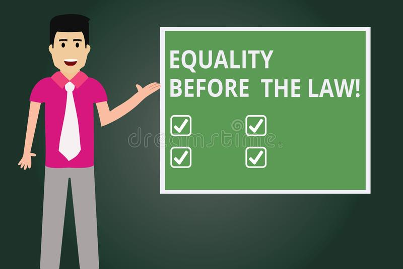 Texttecken som visar jämställdhet för lagen Jämbördiga rätter för begreppsmässigt skydd för fotorättvisajämvikt för alla man royaltyfri illustrationer
