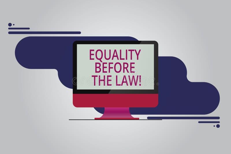 Texttecken som visar jämställdhet för lagen Jämbördiga rätter för begreppsmässigt skydd för fotorättvisajämvikt för monterad alla vektor illustrationer