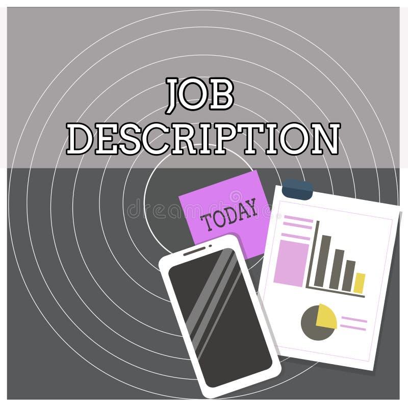 Texttecken som visar Job Description Det begreppsmässiga fotoet ett formellt konto av anställd s är ansvarorienteringen royaltyfri illustrationer