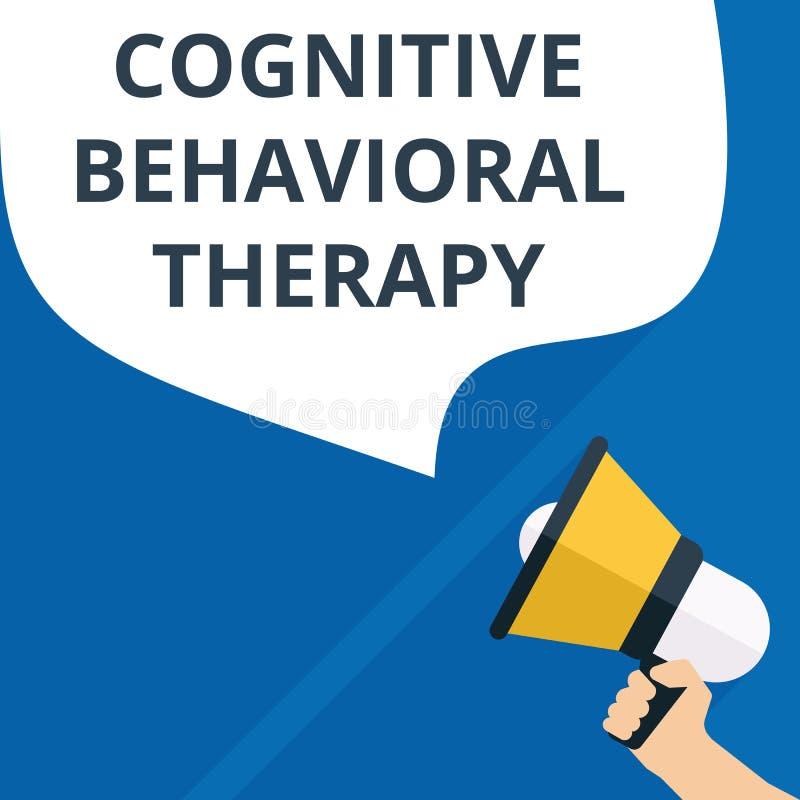 Texttecken som visar kognitiv beteende- terapi stock illustrationer