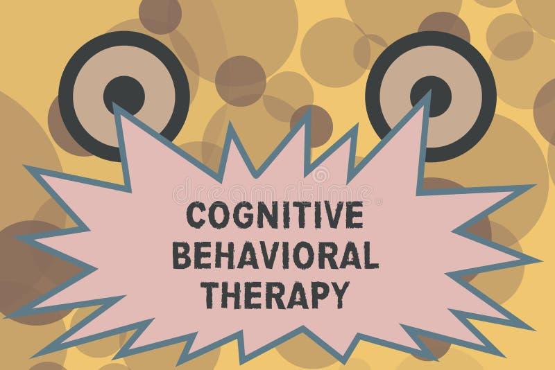 Texttecken som visar kognitiv beteende- terapi Psykologisk behandling för begreppsmässigt foto för psykiska störningar vektor illustrationer