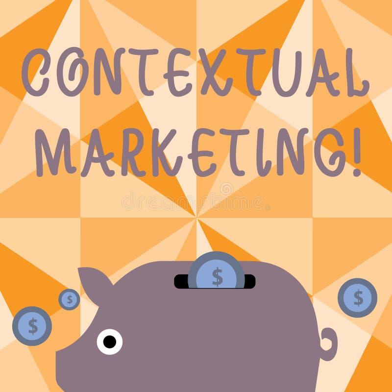Texttecken som visar kontextuell marknadsföring Begreppsmässigt foto direktanslutet och beteende- uppsätta som mål för mobil vektor illustrationer