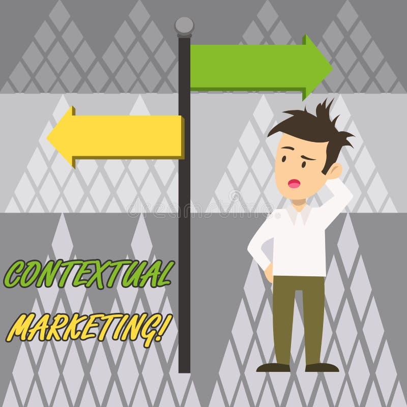 Texttecken som visar kontextuell marknadsföring Förväxlade den online- och mobila marknadsföra beteende- uppsätta som mål m royaltyfri illustrationer