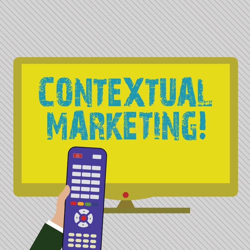 Texttecken som visar kontextuell marknadsföring Online-- och mobilt marknadsföra beteende- uppsätta som mål handinnehav för  royaltyfri illustrationer