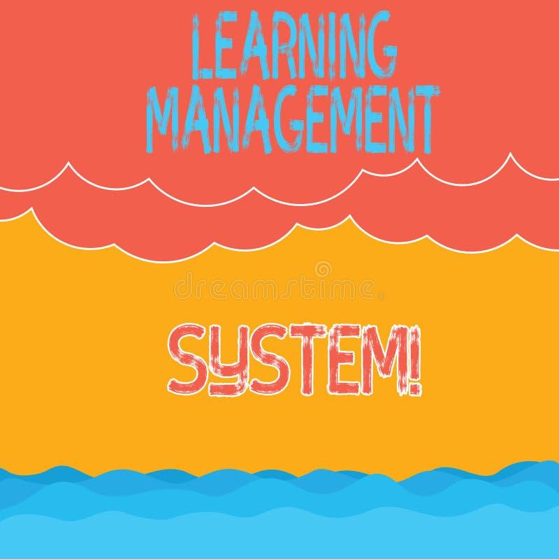 Texttecken som visar lära ledningsystemet Den begreppsmässiga fotoprogramvaruapplikationen, som är van vid, administrerar halvton stock illustrationer