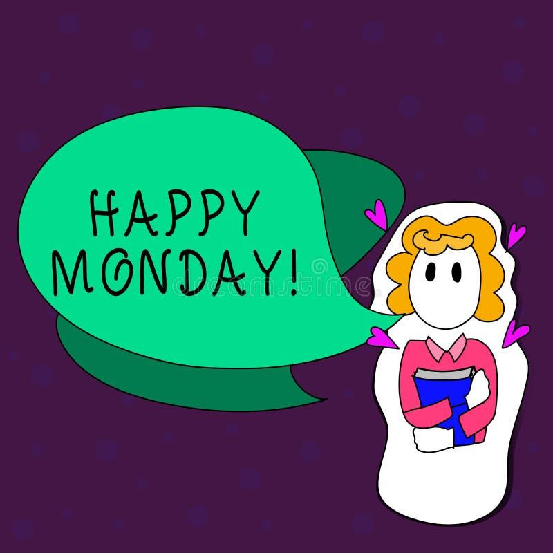 Texttecken som visar lyckliga måndag Begreppsmässigt foto som berättar, att visa beställning att önska honom den stora nya veckaf stock illustrationer