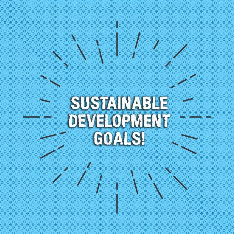 Texttecken som visar mål för hållbar utveckling Det begreppsmässiga fotoet förenar global vision för nationer för den tunna huana royaltyfri illustrationer