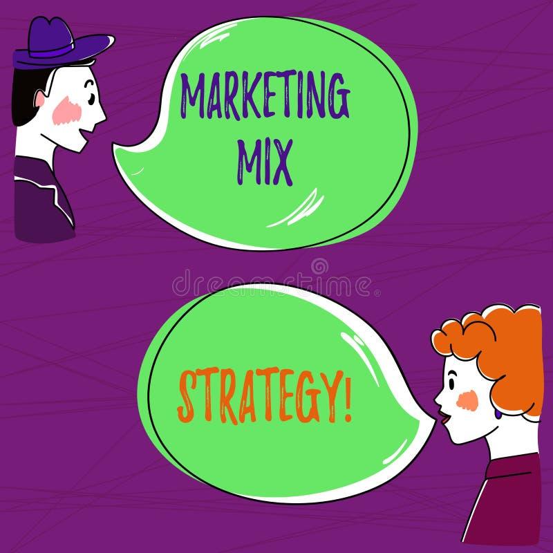Texttecken som visar marknadsföra blandningstrategi Det begreppsmässiga fotoet ställde in av den governable taktiska för företags vektor illustrationer