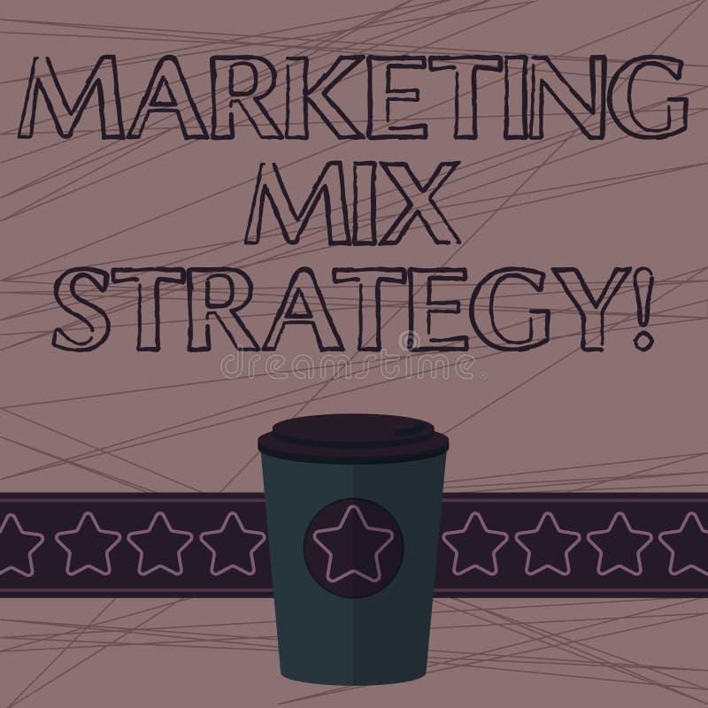 Texttecken som visar marknadsföra blandningstrategi Det begreppsmässiga fotoet ställde in av governable taktiskt företagsbruk 3D  stock illustrationer