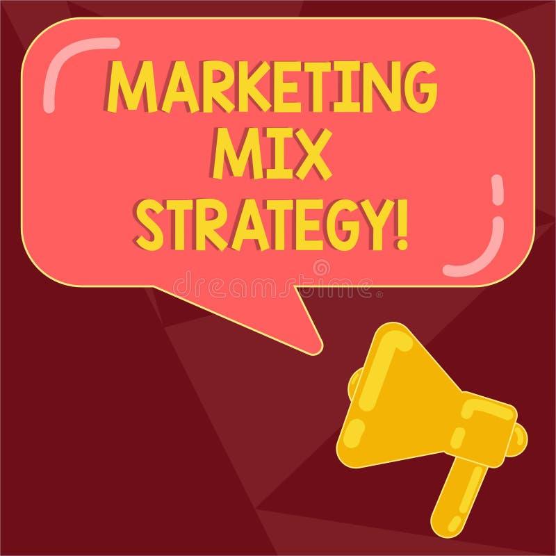 Texttecken som visar marknadsföra blandningstrategi Det begreppsmässiga fotoet ställde in av governable taktiskt företagsbruk för stock illustrationer