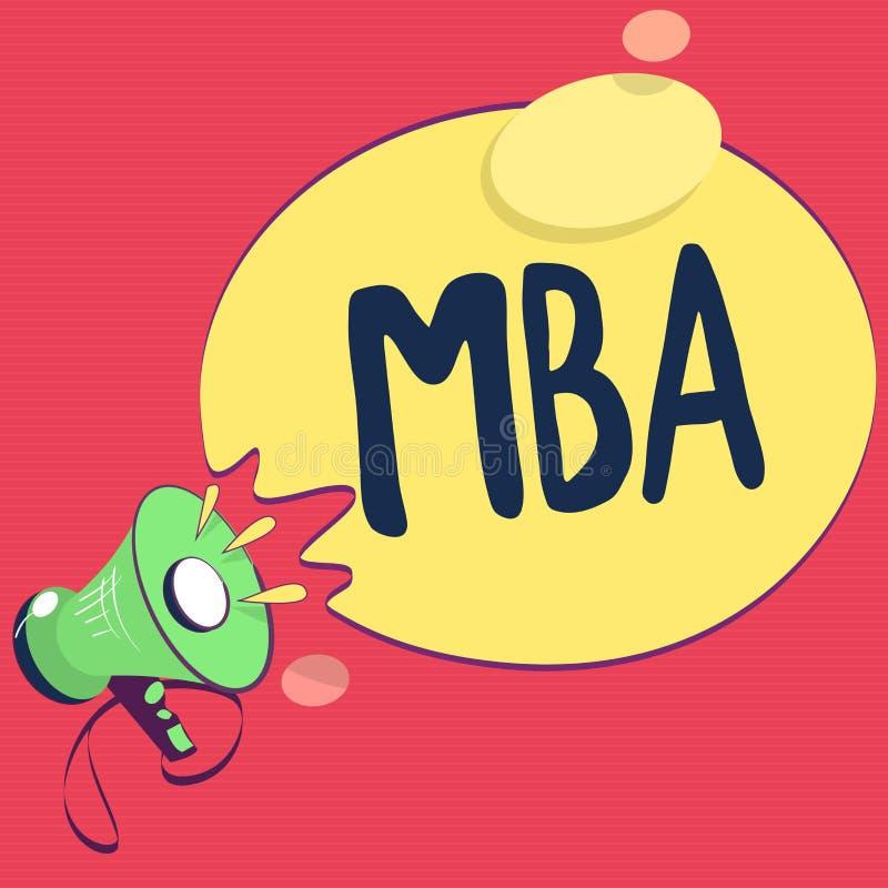 Texttecken som visar Mba Avancerad grad för begreppsmässigt foto i affärsfält liksom administration och marknadsföring vektor illustrationer