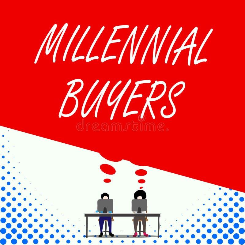 Texttecken som visar Millennial k?pare Begreppsmässig fototyp av konsumenter som är intresserade, i att tendera produkter två män royaltyfri illustrationer