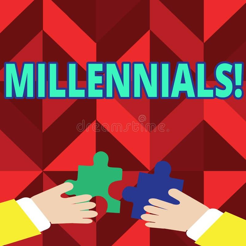 Texttecken som visar Millennials Begreppsmässig fotoutveckling Y som uthärdas från 80-tal till 2000s vektor illustrationer