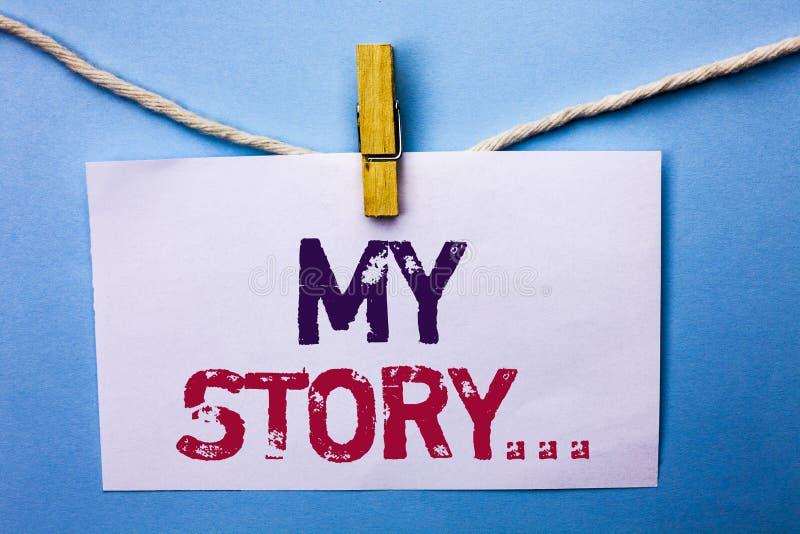 Texttecken som visar min berättelse Begreppsmässig portfölj för profil för personlig historia för fotobiografiprestation som är s royaltyfri fotografi