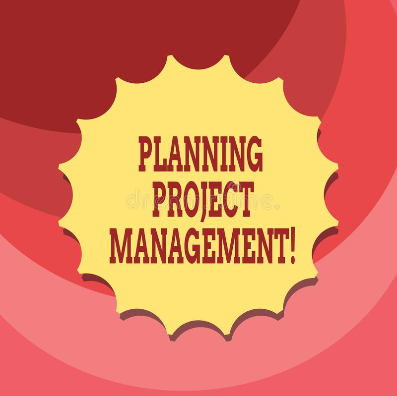 Texttecken som visar planera projektledning Begreppsmässigt fotobruk av scheman att planera därefter den tomma skyddsremsan för r stock illustrationer