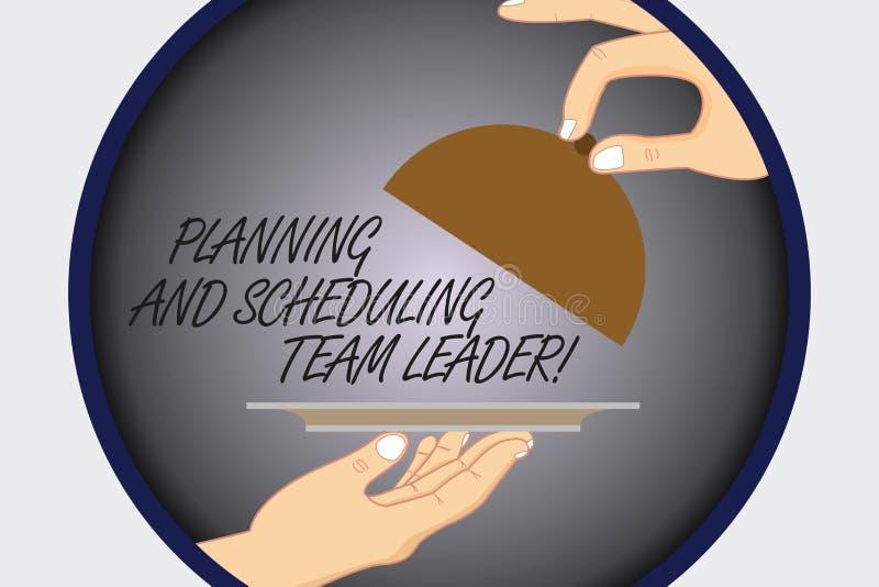 Texttecken som visar planläggningen och Scheduling Team Leader Begreppsmässigt ledarskap Hu för affär för fotoprojektanalysisagem stock illustrationer