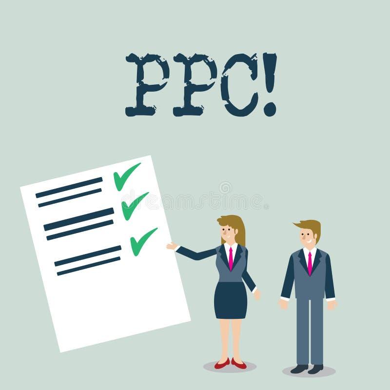 Texttecken som visar Ppc Begreppsmässig fotolön per klicken som annonserar direkt trafik för strategier till Websites stock illustrationer