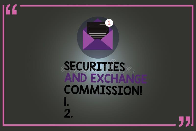 Texttecken som visar säkerhets- och utbyteskommissionen Begreppsmässig fotosäkerhet som utbyter finansiella kommissioner, öppnar royaltyfri illustrationer