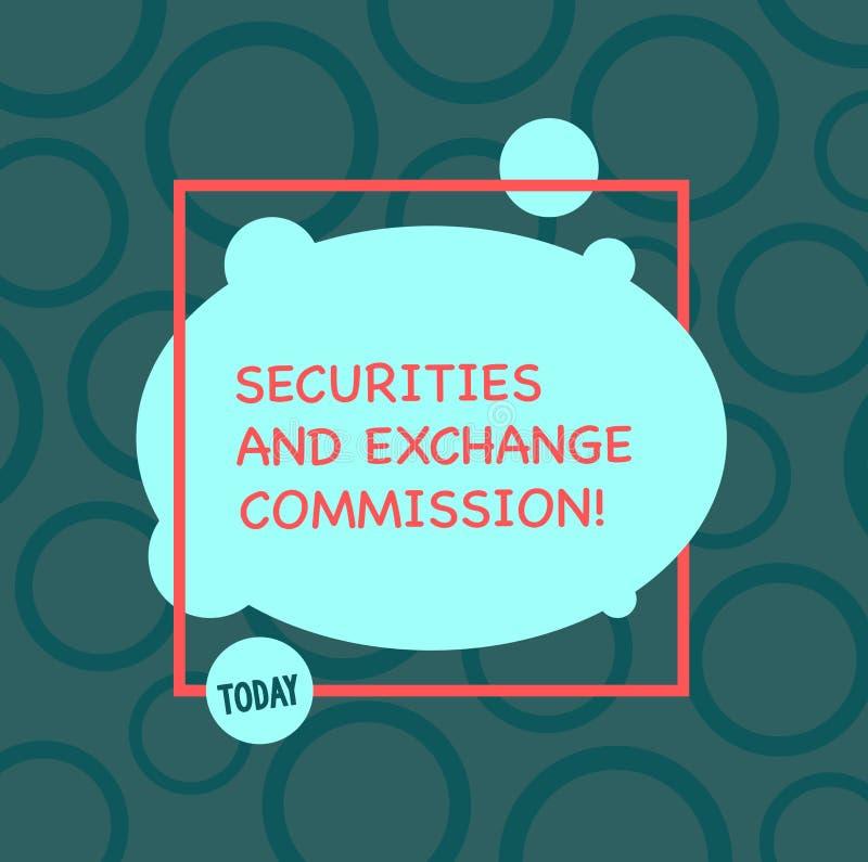 Texttecken som visar säkerhets- och utbyteskommissionen Begreppsmässig fotosäkerhet som utbyter finansiella kommissioner stock illustrationer
