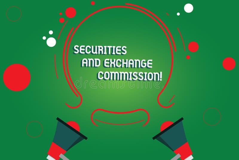 Texttecken som visar säkerhets- och utbyteskommissionen Begreppsmässig fotosäkerhet som utbyter kommissioner finansiella två vektor illustrationer