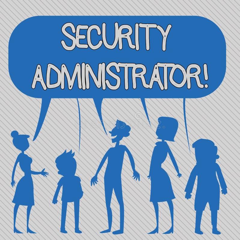 Texttecken som visar säkerhetsadministratören Begreppsmässigt foto som visar vem administrerar användaretillträdesrätter ti vektor illustrationer
